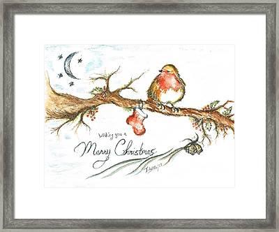Merry Christmas Robin Framed Print by Teresa White