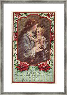 Merry Christmas Virgin And Child Framed Print by Olde Time  Mercantile