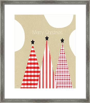 Merry Christmas With Red And White Trees Framed Print by Linda Woods