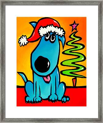 Merry - Holiday Dog Pop Art Framed Print by Tom Fedro - Fidostudio