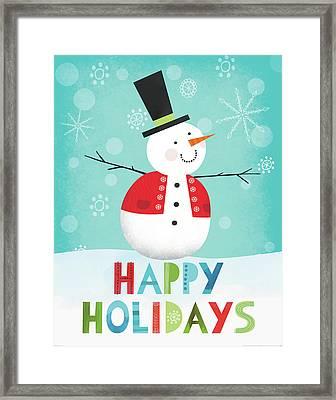 Merry Snowman I Framed Print by Lamai Mccartan