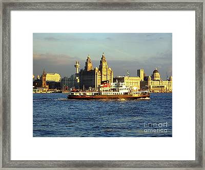 Mersey Ferry And Liverpool Waterfront Framed Print by Steve Kearns