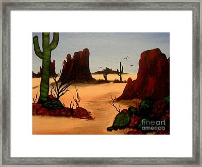 Mesas Buttes And Cactus Framed Print by Barbara Griffin
