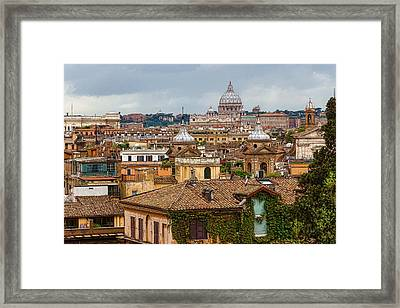 Messy Fascinating And Wonderful - The Roofs Of Rome Framed Print by Georgia Mizuleva