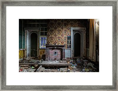 Messy Living Room Abandoned House Framed Print by Dirk Ercken