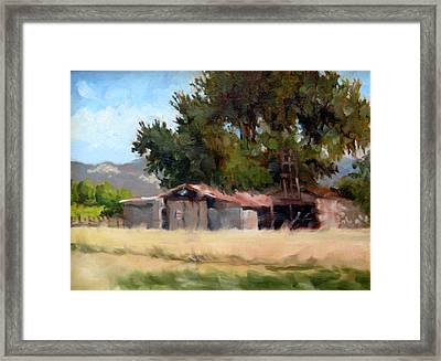 Metal Barns With Oak Tree Framed Print by Char Wood
