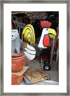 Metal Rooster And Donkey Framed Print by Donna Wilson