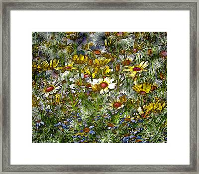 Metal Sunflowers Framed Print by James Steele