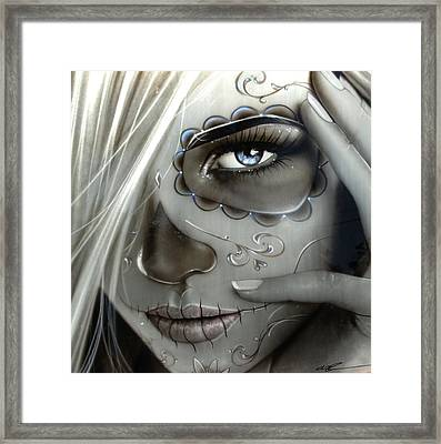 Sugar Skull - ' Metallic Decay ' Framed Print by Christian Chapman Art