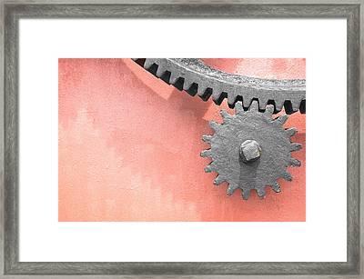 Metallic Gear Wheel Framed Print by Mikel Martinez de Osaba