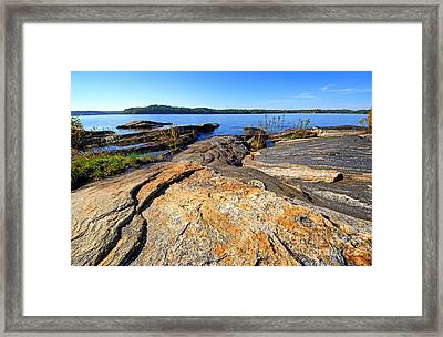 Curving Rocks Framed Print by Charline Xia