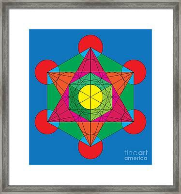 Metatron's Cube In Colors Framed Print by Steven Dunn