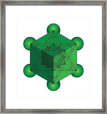 Metatron's Cube In Green Framed Print by Steven Dunn