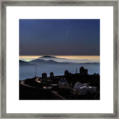 Meteor Over La Silla Observatory Framed Print by Babak Tafreshi