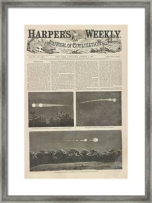 Meteor Procession Of 20 July 1860 Framed Print by Library Of Congress