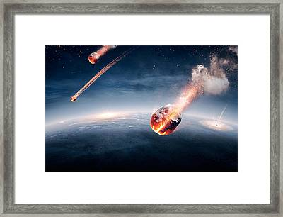 Meteorites On Their Way To Earth Framed Print by Johan Swanepoel
