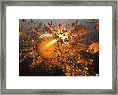 Meteors Making Impact In Space Framed Print by Victor Habbick Visions