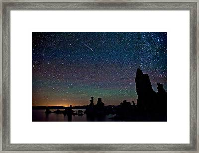 Meteors Over Mono Lake Framed Print by Cat Connor