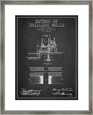 Method Of Drilling Wells Patent From 1906 - Dark Framed Print by Aged Pixel
