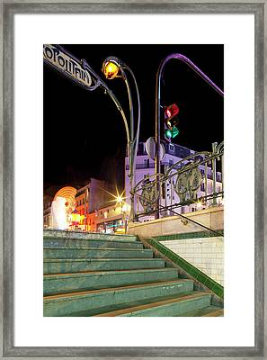 Metro Stop Lit Up At Night, Metro Framed Print by Panoramic Images