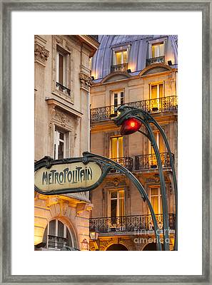 Metro Stop Saint Michel Framed Print by Brian Jannsen