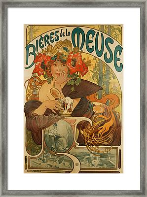Meuse Beer Framed Print by Alphonse Marie Mucha