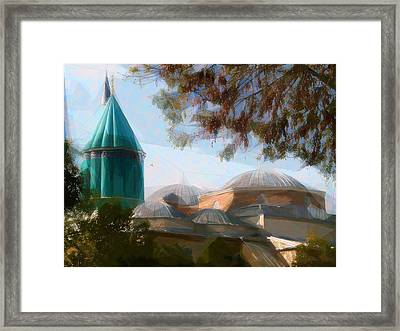 Mevlana Rumi Mosque In Konya Turkey Framed Print by Celestial Images