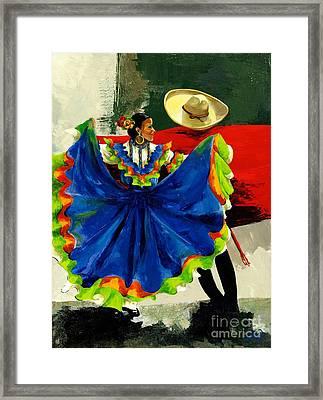 Mexican Dancers Framed Print by Elisabeta Hermann