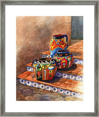Mexican Pottery Still Life Framed Print by Marilyn Smith