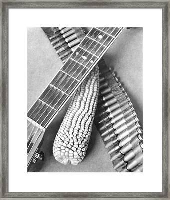 Mexican Revolution, Guitar, Corn Framed Print by Tina Modotti