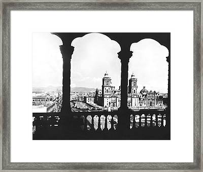 Mexico City Plaza Framed Print by Underwood Archives