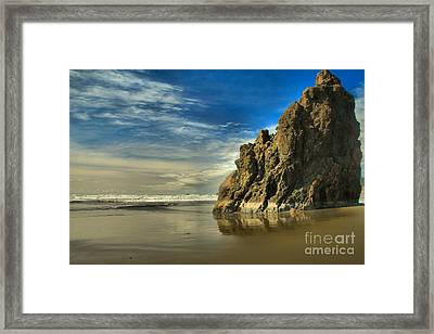Meyers Beach Stacks Framed Print by Adam Jewell
