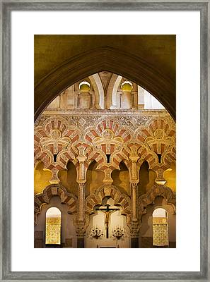 Mezquita Interior Islamic Architecture Framed Print by Artur Bogacki