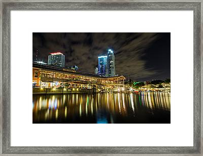 Miami Bayside At Night Framed Print by Andres Leon
