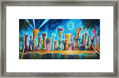 Miami City South Beach Original Painting Tropical Cityscape Art Miami Night Life By Madart Absolut X Framed Print by Megan Duncanson