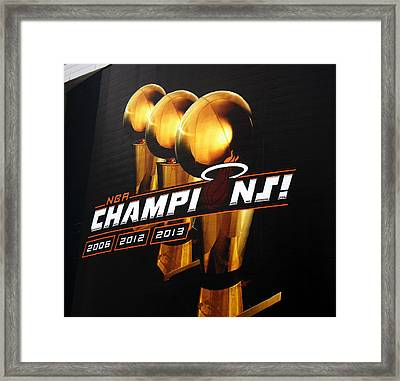 Miami Heat Aaa Championship Banner Framed Print by J Anthony