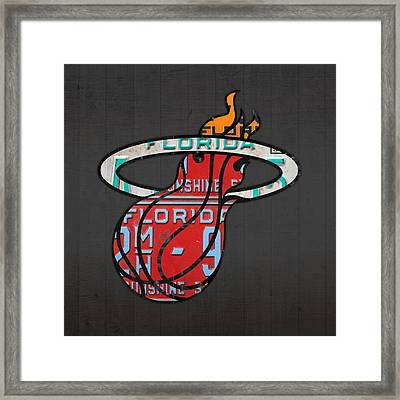 Miami Heat Basketball Team Retro Logo Vintage Recycled Florida License Plate Art Framed Print by Design Turnpike