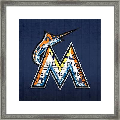 Miami Marlins Baseball Team Vintage Logo Recycled Florida License Plate Art Framed Print by Design Turnpike