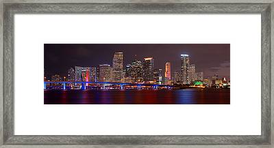 Miami Skyline At Night Panorama Color Framed Print by Jon Holiday
