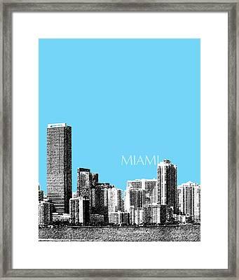 Miami Skyline - Sky Blue Framed Print by DB Artist