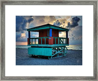 Miami - South Beach Lifeguard Stand 001 Framed Print by Lance Vaughn