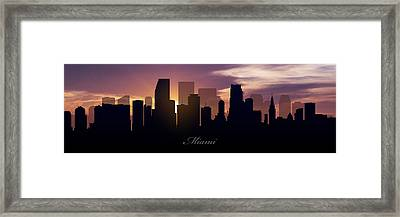 Miami Sunset Framed Print by Aged Pixel
