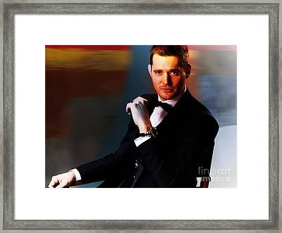 Michael Buble Framed Print by Marvin Blaine