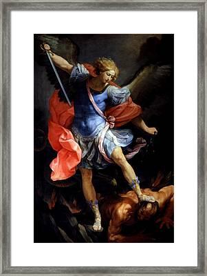 Michael Defeating Satan Framed Print by Guido Reni