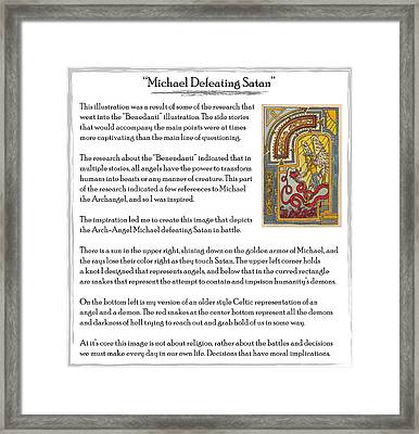 Michael Defeating Satan Story Framed Print by Michael Lee