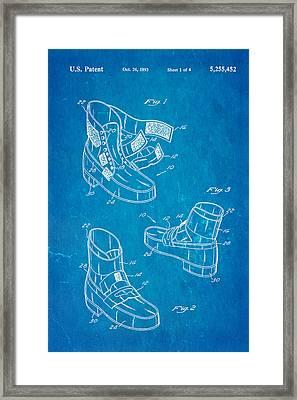 Michael Jackson Anti Gravity Boot Patent Art 1993 Blueprint Framed Print by Ian Monk