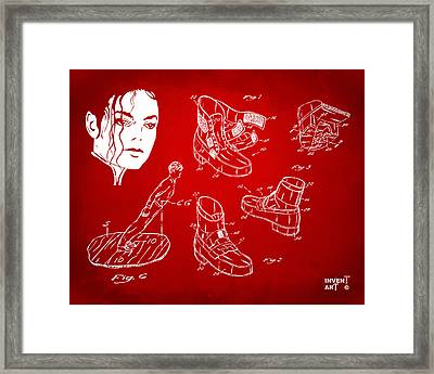 Michael Jackson Anti-gravity Shoe Patent Artwork Red Framed Print by Nikki Marie Smith