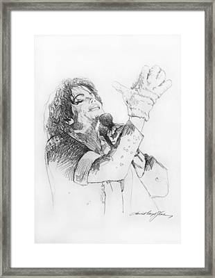 Michael Jackson Passion Sketch Framed Print by David Lloyd Glover