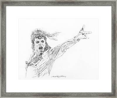 Michael Jackson Power Performance Framed Print by David Lloyd Glover
