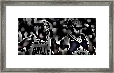 Michael Jordan And Carl Malone Framed Print by Brian Reaves